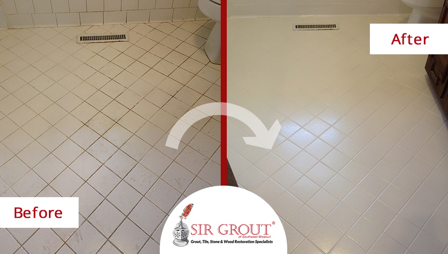 Before and After Picture of a Tile Clening Service in Willard, MO