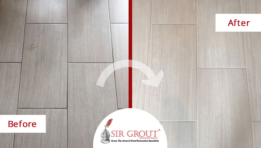 Before and After Picture of a Tile Floor Grout Recoloring Service in Springfield, Missouri