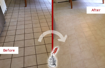 Before and After Picture of a Dirty Kitchen Tile Floor Cleaned and Sealed for Extra Protection