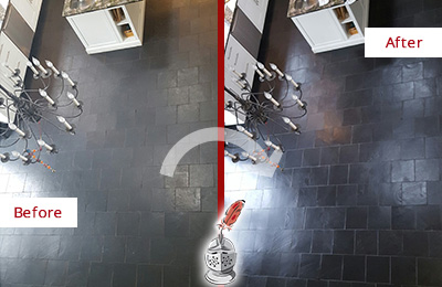 Before and After Picture of a Dull Slate Kitchen Floor Cleaned and Sealed to Restore Its Original Color