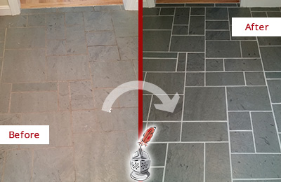 Before and After Picture of Heavily Stained Slate Floor Cleaned and Sealed
