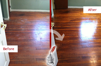 Before and After Picture of Sandless Refinishing on Wood Floor