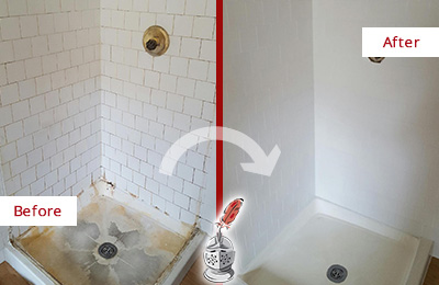 Before and After Picture of a Battlefield Shower Tile and Grout Cleaned to Remove Soap Scum
