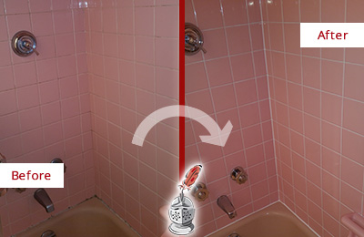 Before and After Picture of a Aurora Bathtub Caulked to Eliminate Mold