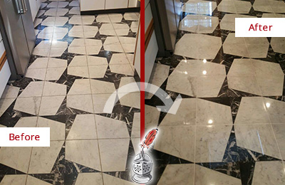 Before and After Picture of a Dull Carl Junction Marble Stone Floor Polished To Recover Its Luster