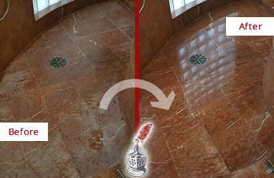 Before and After Picture of a Carl Junction Marble Stone Shower Polished to Eliminate Mineral Deposits