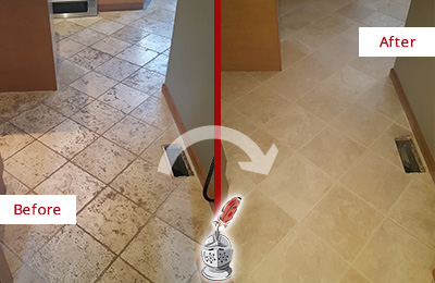 Before and After Picture of a Cape Fair Kitchen Marble Floor Cleaned to Remove Embedded Dirt