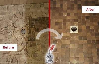Before and After Picture of a Stained Cape Fair Marble Shower Floor Cleaned to Remove Etching
