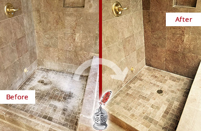 Before and After Picture of a Fair Grove Travertine Shower Cleaned to Eliminate Water Spots
