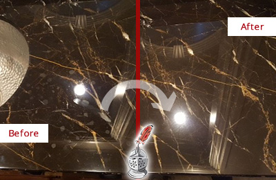 Before and After Picture of a Cape Fair Marble Countertop Cleaned to Remove Water Spots