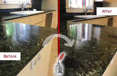 Before and After Picture of a Elkland Marble Kitchen Countertop Honed to Remove Water Marks