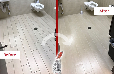 Before and After Picture of a Carterville Office Restroom's Grout Cleaned to Remove Dirt