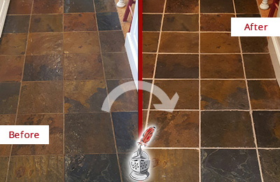 Before and After Picture of a Cassville Slate Floor Recolored Grout