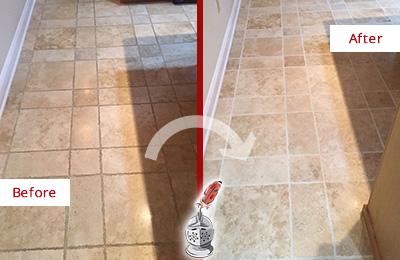 Before and After Picture of a Cassville Travertine Kitchen Floor Recolored Grout