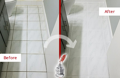 Before and After Picture of a Cassville White Ceramic Tile with Recolored Grout