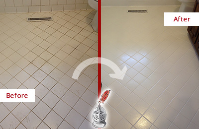 Before and After Picture of a Forsyth White Bathroom Floor Grout Sealed for Extra Protection