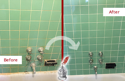 Before and After Picture of a Cedar Ridge Bath Tub Grout Sealed to Avoid Water Damage