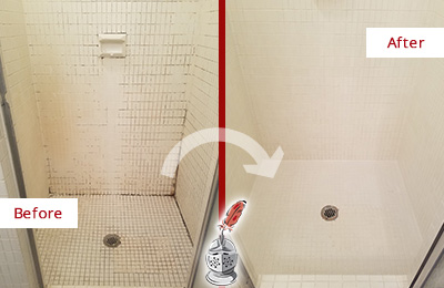 Before and After Picture of a Fair Play Bathroom Grout Sealed to Remove Mold