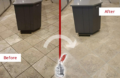 Before and After Picture of a Cedar Ridge Kitchen Floor Grout Sealed to Remove Stains