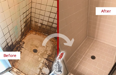 Before and After Picture of a Dunnegan Ceramic Shower Cleaned to Remove Grime