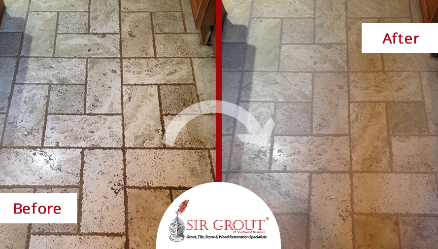 Stone Cleaning Job In Springfield Mo Restores This Travertine Floor