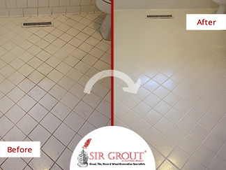 Before and After Picture of a Tile Cleaning Service in Willard, MO