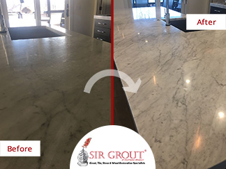 Before and After Picture of a Marble Countertop Stone Honing Service in Springfield, Missouri