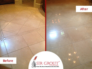 Before and After Picture of Stone Polishing Service in Rogersville, Missouri