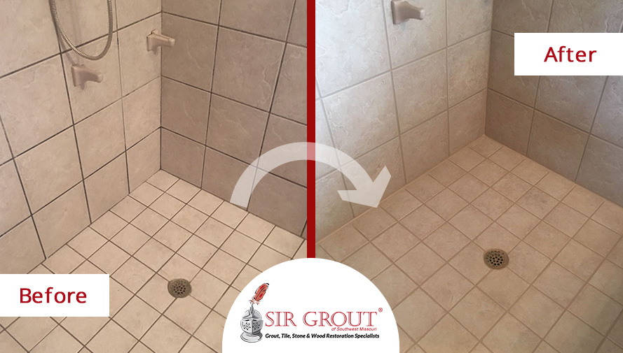 Before and After Picture of a Shower Grout Cleaning Service in Willard, Missouri