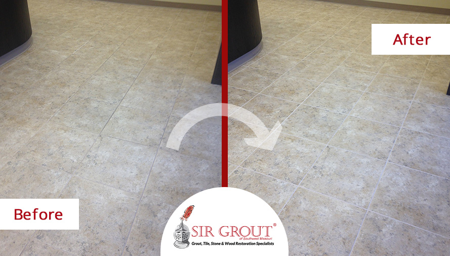Before and After Picture of a Grout Cleaning Service in Springfield, MO