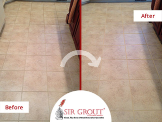 Before and After Picture of a Grout Cleaning Service in Branson, Missouri