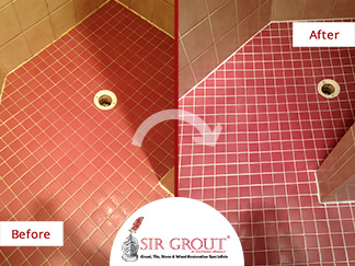 Before and After Picture of a Bathroom Grout Recoloring Service in Springfield, MO