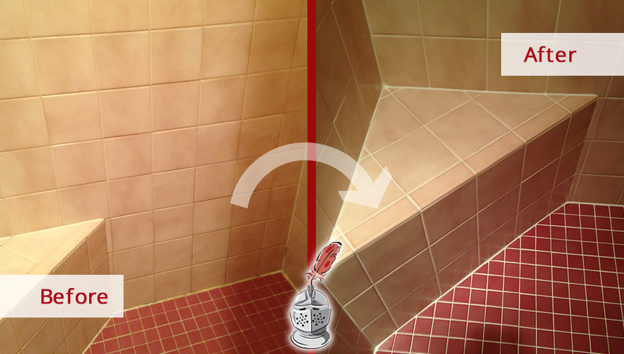 Before and After Picture of a Shower Grout Recoloring Service in Springfield, MO