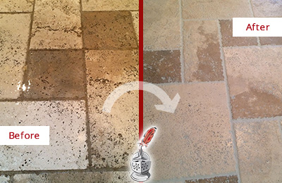 Picture of Travertine Floor and Grout Before and After Cleaning and Sealing to Remove Embedded Dirt