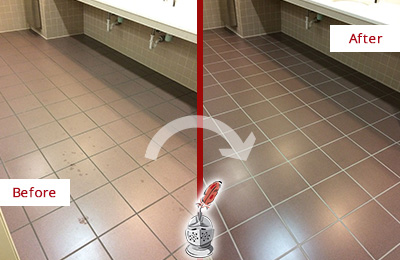 Before and After Picture of a Buffalo Restrooms Tile and Grout Cleaned to Remove Embedded Dirt