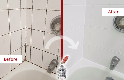 Before and After Picture of a Marionville Shower Tile and Grout Cleaned to Eliminate Mold