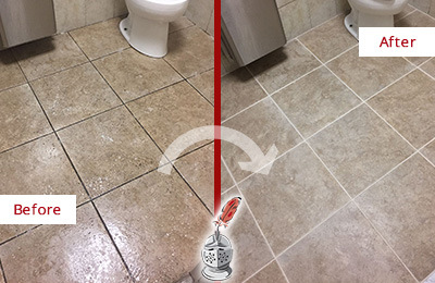 Before and After Picture of a Branson West Restroom Tile and Grout Cleaned to Remove Soil
