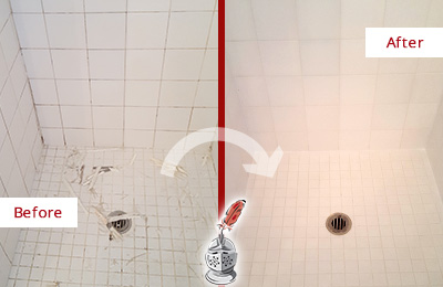 Before and After Picture of a Monett Bathroom Re-Caulked To Repair Damaged Caulking