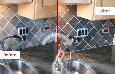 Before and After Picture of a Fair Grove Backsplash Caulked to Fix and Prevent Water Leaks