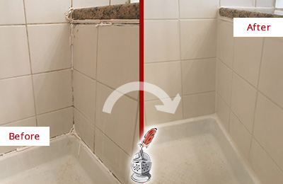 Before and After Picture of a Monett Shower Caulked to Repair Damaged Caulking