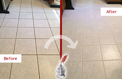 Before and After Picture of a Fair Play Kitchen Ceramic Floor Sealed to Protect From Dirt and Spills