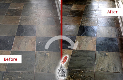 Before and After Picture of a Dull Bradleyville Slate Floor Sealed to Bring Back Its Colors