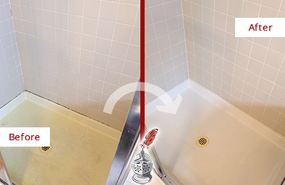 Before and After Picture of a Fair Play Shower Sealed to Remove and Protect Against Mold
