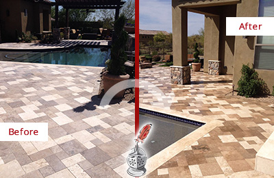 Before and After Picture of a Dull Everton Travertine Pool Deck Cleaned to Recover Its Original Colors