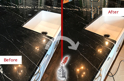 Before and After Picture of a Cape Fair Marble Kitchen Countertop Stone Sealed to Avoid Water Damage