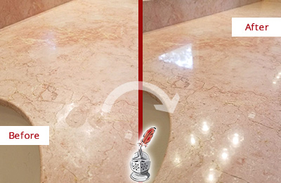Before and After Picture of a Cape Fair Marble Stone Vanity Top Sealed to Avoid Water Marks