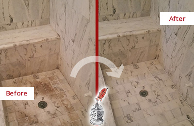 Before and After Picture of a Fair Grove Marble Shower Honed to Remove Dark Stains