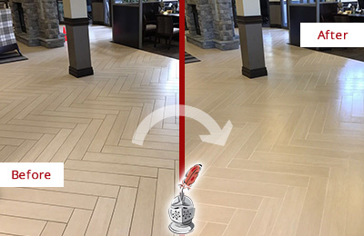 Before and After Picture of a Kissee Mills Hard Surface Restoration Service on an Office Lobby Tile Floor to Remove Embedded Dirt
