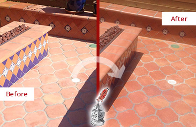 Before and After Picture of a Kissee Mills Hard Surface Restoration Service on a Dull Terracotta Patio Floor to Recover Its Color
