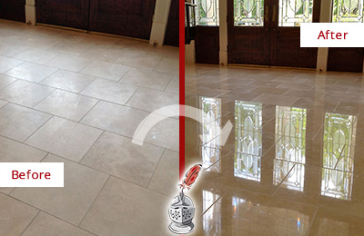 Before and After Picture of a Jasper Hard Surface Restoration Service on a Dull Travertine Floor Polished to Recover Its Splendor